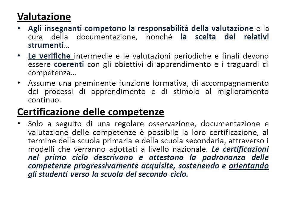 Valutazione Agli insegnanti competono la responsabilità della valutazione e la cura della documentazione, nonché la scelta dei relativi strumenti… Le