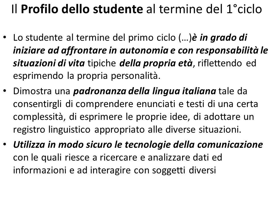 Il Profilo dello studente al termine del 1°ciclo Lo studente al termine del primo ciclo (…)è in grado di iniziare ad affrontare in autonomia e con res