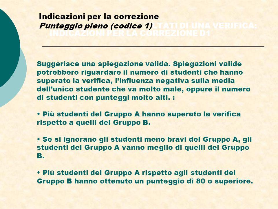Indicazioni per la correzione Punteggio pieno (codice 1)LTATI DI UNA VERIFICA: INDICAZIONI PER LA CORREZIONE D1 Suggerisce una spiegazione valida.