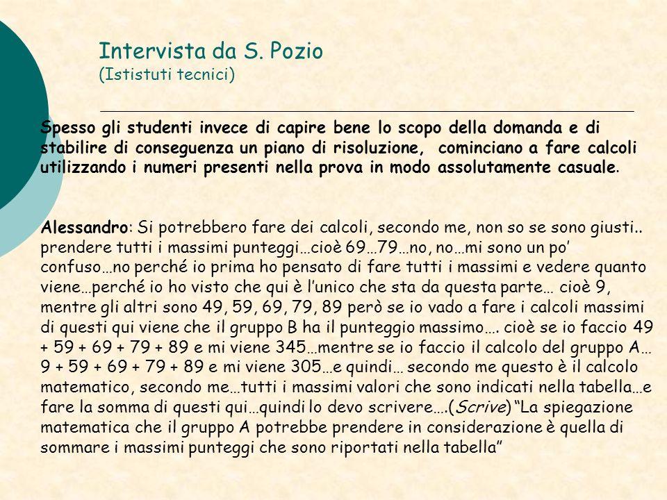 Intervista da S. Pozio (Ististuti tecnici) Spesso gli studenti invece di capire bene lo scopo della domanda e di stabilire di conseguenza un piano di