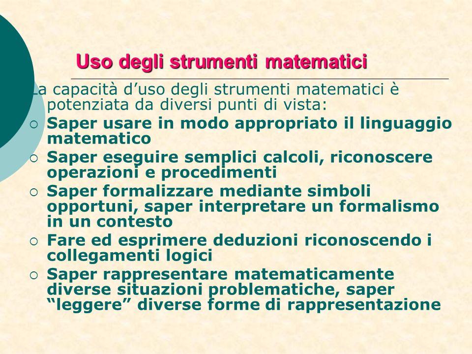 Uso degli strumenti matematici La capacità duso degli strumenti matematici è potenziata da diversi punti di vista: Saper usare in modo appropriato il