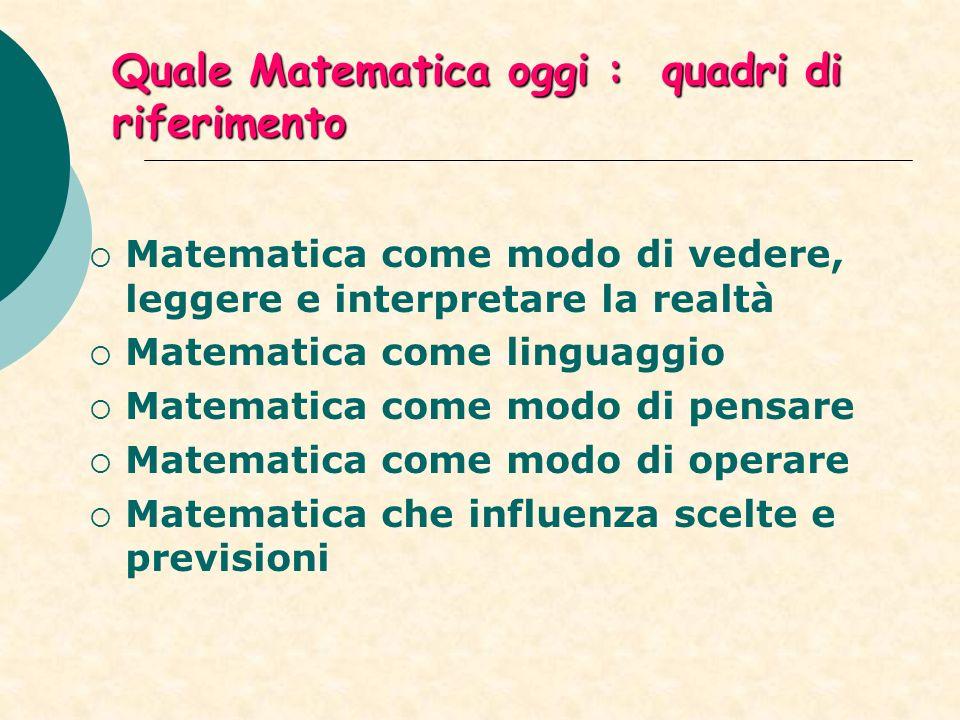Quale Matematica oggi : quadri di riferimento Matematica come modo di vedere, leggere e interpretare la realtà Matematica come linguaggio Matematica come modo di pensare Matematica come modo di operare Matematica che influenza scelte e previsioni