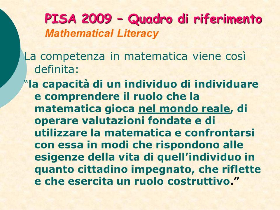 PISA 2009 – Quadro di riferimento PISA 2009 – Quadro di riferimento Mathematical Literacy La competenza in matematica viene così definita: la capacità di un individuo di individuare e comprendere il ruolo che la matematica gioca nel mondo reale, di operare valutazioni fondate e di utilizzare la matematica e confrontarsi con essa in modi che rispondono alle esigenze della vita di quellindividuo in quanto cittadino impegnato, che riflette e che esercita un ruolo costruttivo.