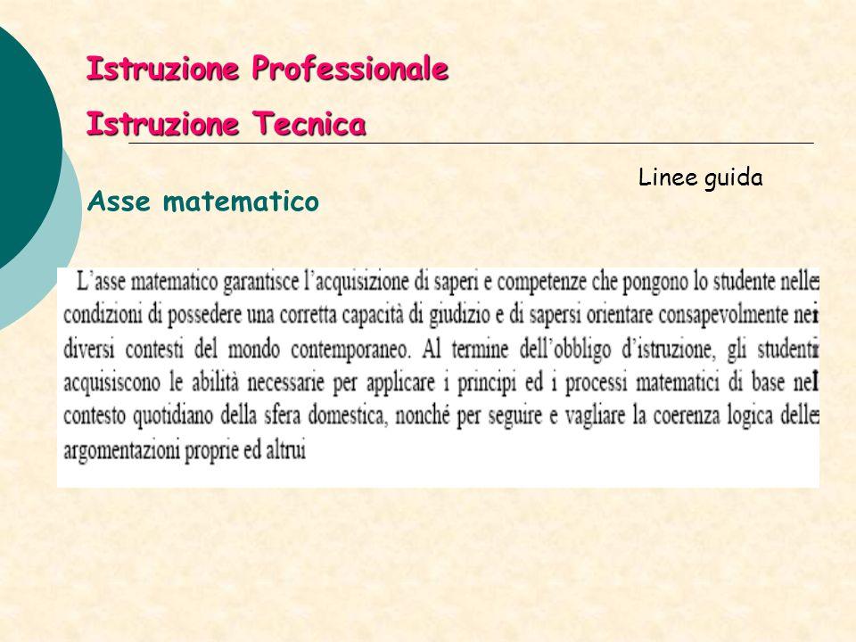 Asse matematico Linee guida Istruzione Professionale Istruzione Tecnica