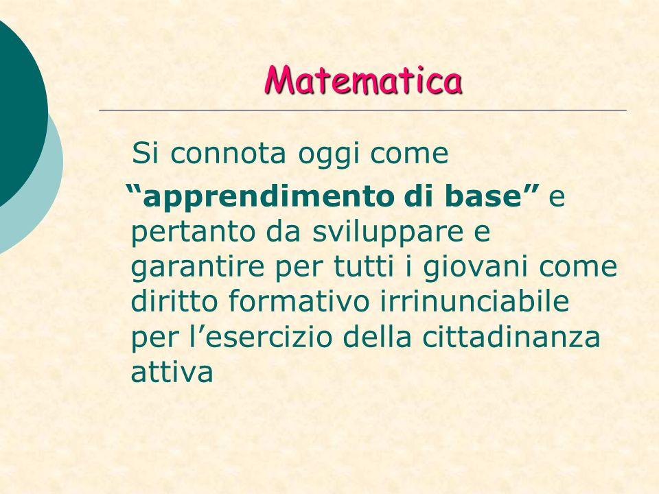 Matematica Si connota oggi come apprendimento di base e pertanto da sviluppare e garantire per tutti i giovani come diritto formativo irrinunciabile per lesercizio della cittadinanza attiva