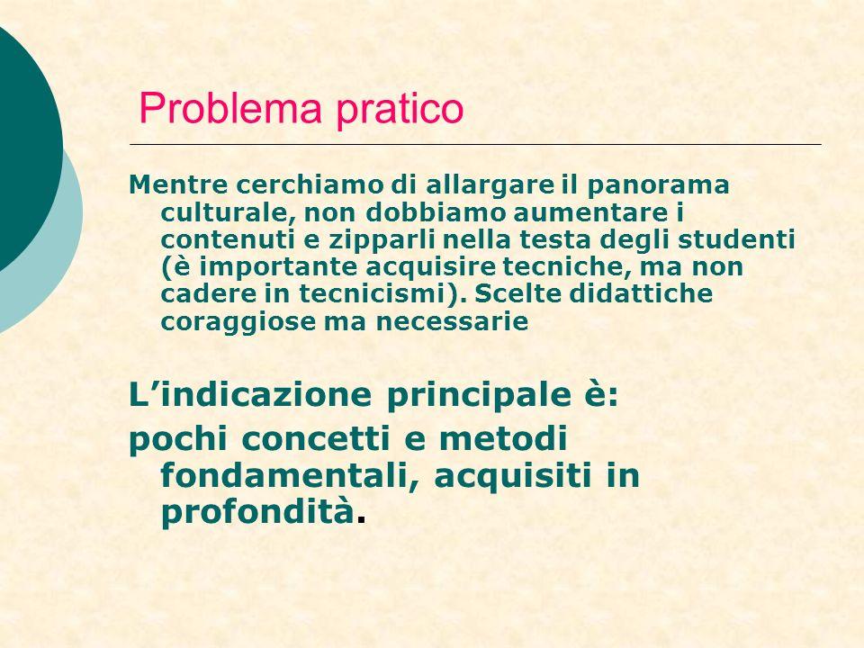 Problema pratico Mentre cerchiamo di allargare il panorama culturale, non dobbiamo aumentare i contenuti e zipparli nella testa degli studenti (è importante acquisire tecniche, ma non cadere in tecnicismi).