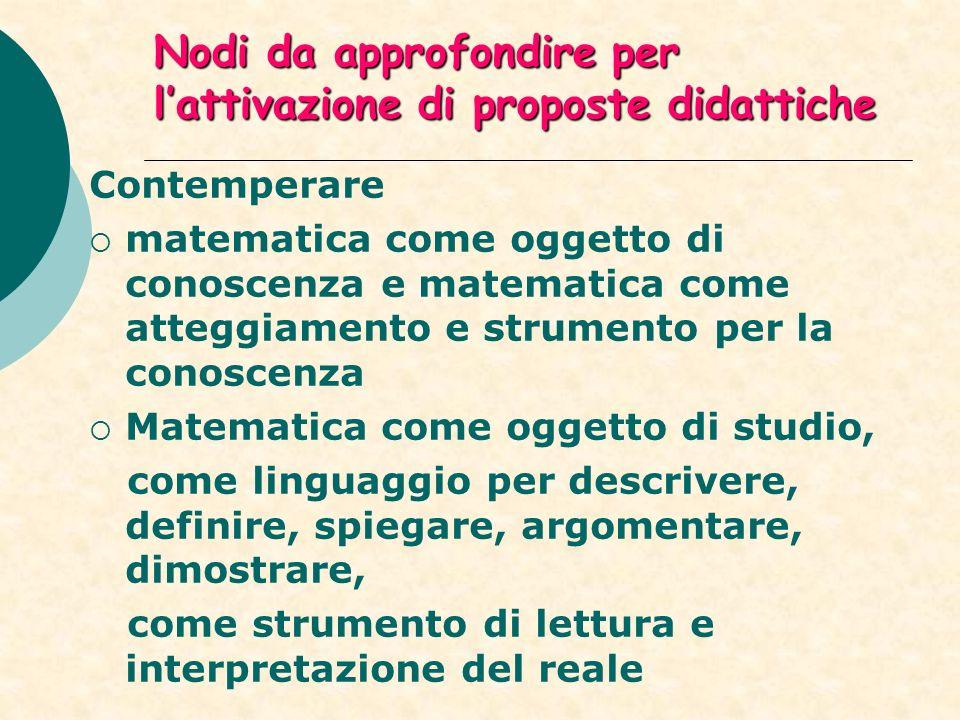 Nodi da approfondire per lattivazione di proposte didattiche Contemperare matematica come oggetto di conoscenza e matematica come atteggiamento e strumento per la conoscenza Matematica come oggetto di studio, come linguaggio per descrivere, definire, spiegare, argomentare, dimostrare, come strumento di lettura e interpretazione del reale
