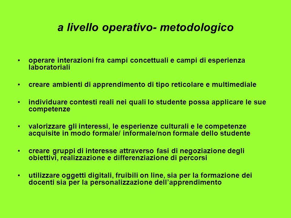 a livello operativo- metodologico operare interazioni fra campi concettuali e campi di esperienza laboratoriali creare ambienti di apprendimento di ti