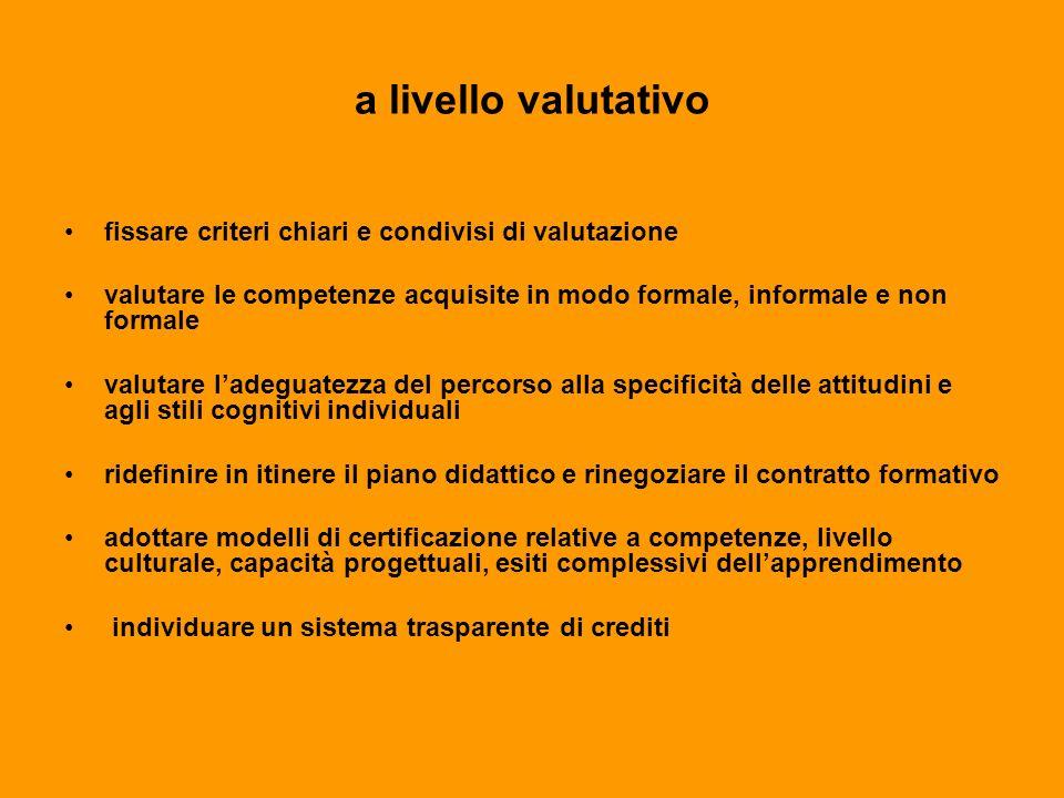 a livello valutativo fissare criteri chiari e condivisi di valutazione valutare le competenze acquisite in modo formale, informale e non formale valut