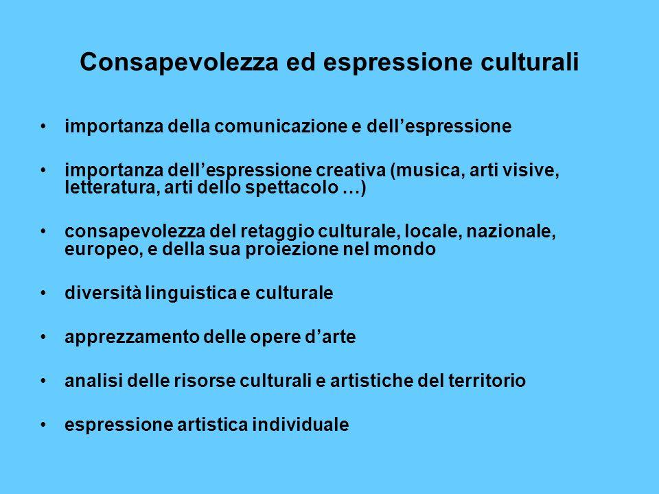 Consapevolezza ed espressione culturali importanza della comunicazione e dellespressione importanza dellespressione creativa (musica, arti visive, let
