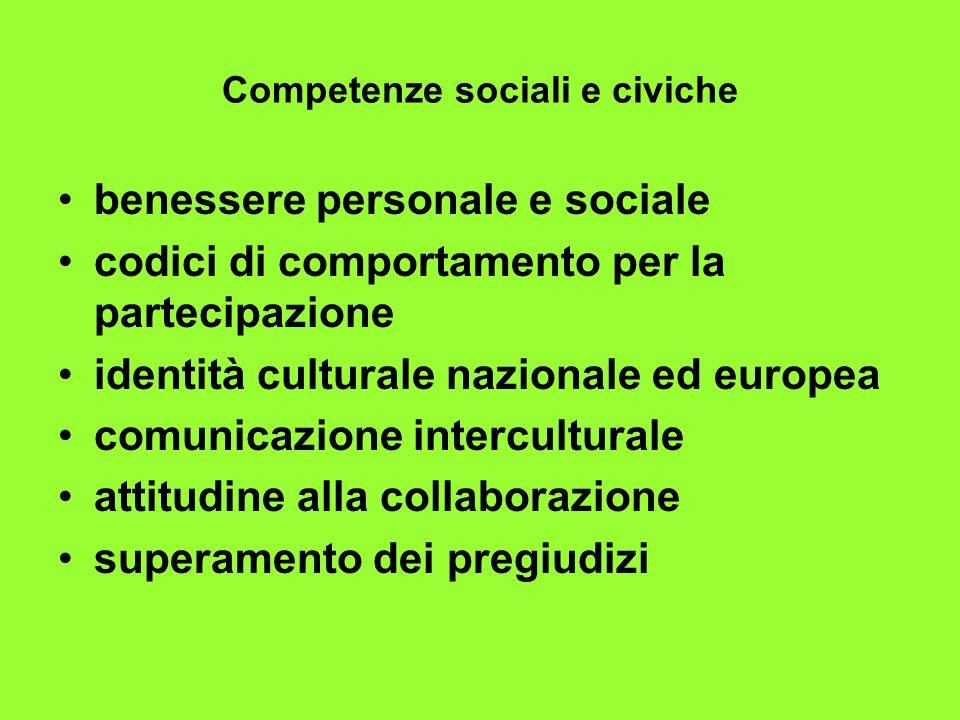 Competenze sociali e civiche benessere personale e sociale codici di comportamento per la partecipazione identità culturale nazionale ed europea comun