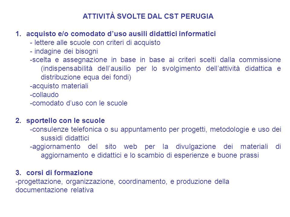ATTIVITÀ SVOLTE DAL CST PERUGIA 1.acquisto e/o comodato duso ausili didattici informatici - lettere alle scuole con criteri di acquisto - indagine dei