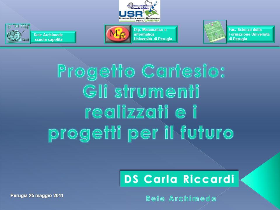 Perugia 25 maggio 2011 Rete Archimede scuola capofila Rete Archimede scuola capofila Rete Archimede scuola capofila Dip. Matematica e informatica Univ