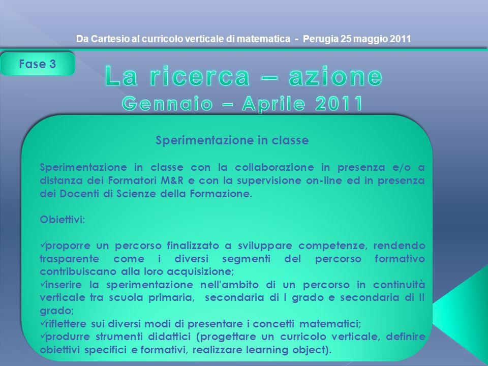 Da Cartesio al curricolo verticale di matematica - Perugia 25 maggio 2011 Sperimentazione in classe Sperimentazione in classe con la collaborazione in