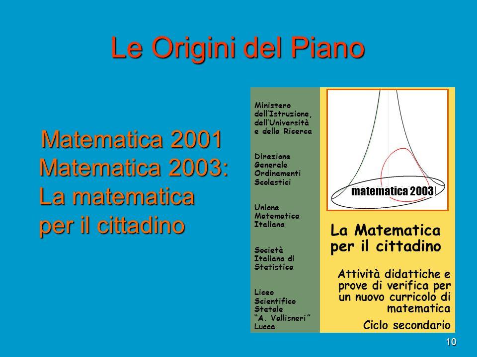 10 Le Origini del Piano Matematica 2001 Matematica 2003: La matematica per il cittadino Matematica 2001 Matematica 2003: La matematica per il cittadin