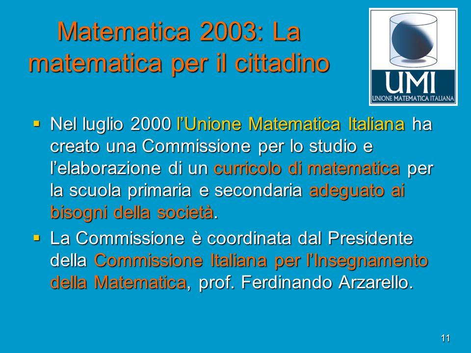 11 Matematica 2003: La matematica per il cittadino Nel luglio 2000 lUnione Matematica Italiana ha creato una Commissione per lo studio e lelaborazione