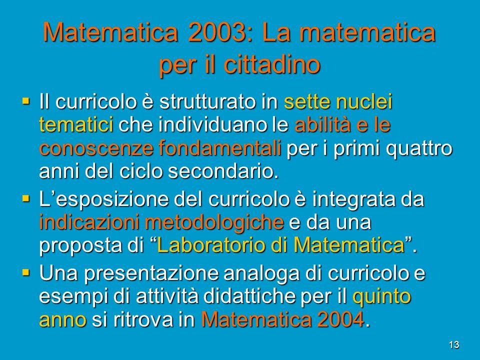 13 Matematica 2003: La matematica per il cittadino Il curricolo è strutturato in sette nuclei tematici che individuano le abilità e le conoscenze fond