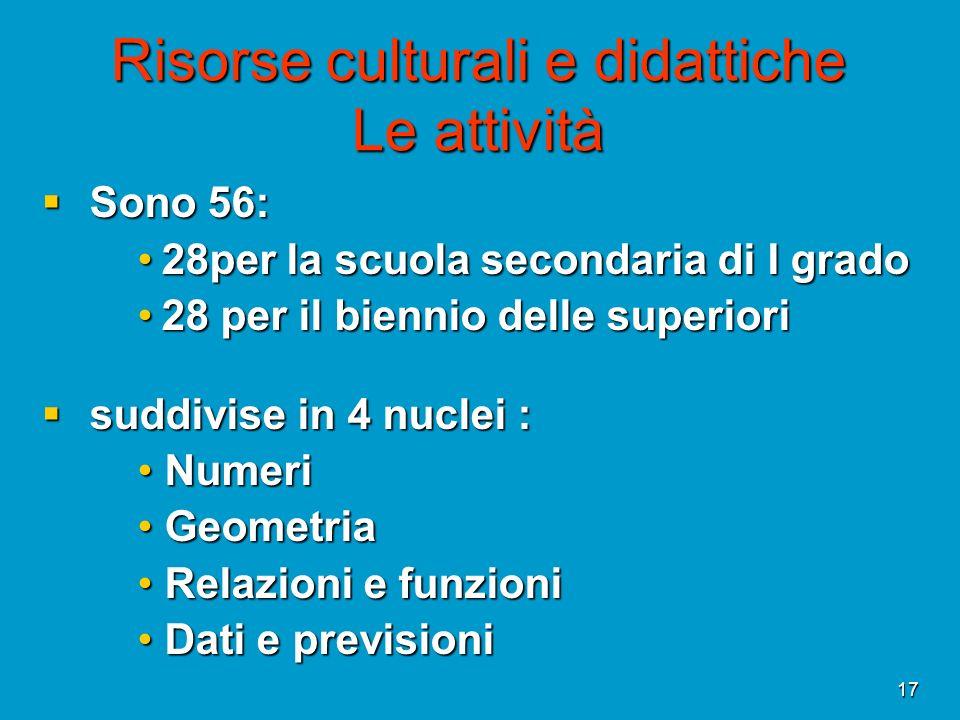 17 Risorse culturali e didattiche Le attività Sono 56: Sono 56: 28per la scuola secondaria di I grado28per la scuola secondaria di I grado 28 per il b