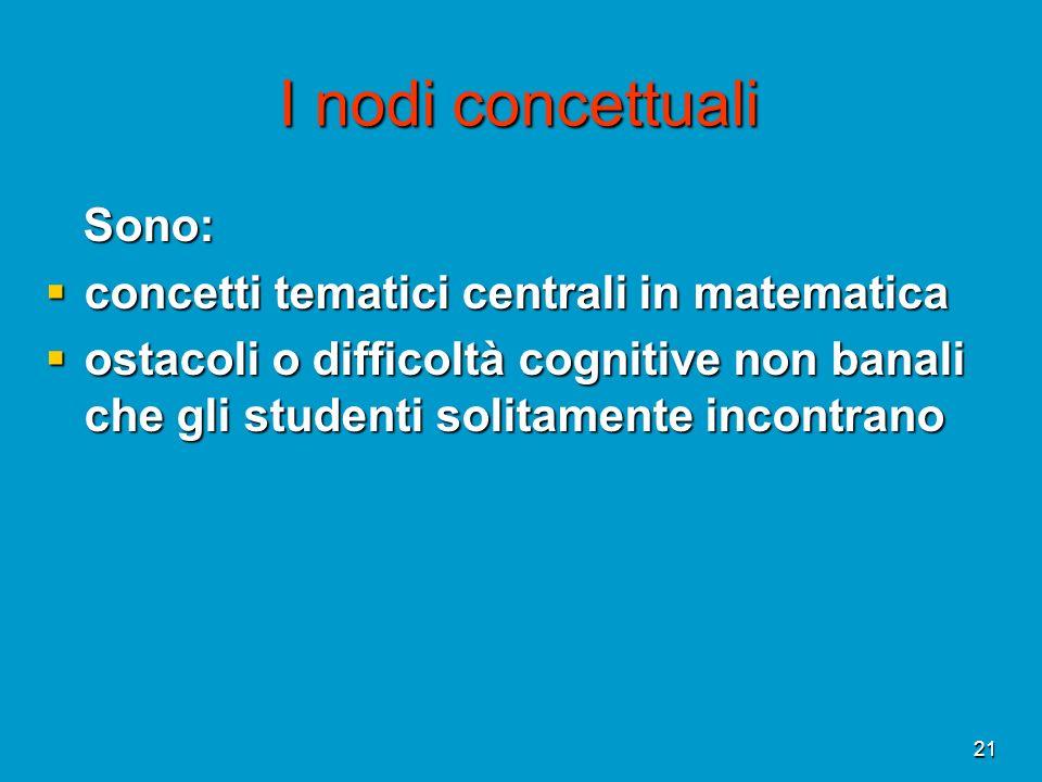 21 I nodi concettuali Sono: Sono: concetti tematici centrali in matematica concetti tematici centrali in matematica ostacoli o difficoltà cognitive no