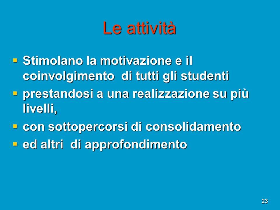 23 Le attività Stimolano la motivazione e il coinvolgimento di tutti gli studenti Stimolano la motivazione e il coinvolgimento di tutti gli studenti p