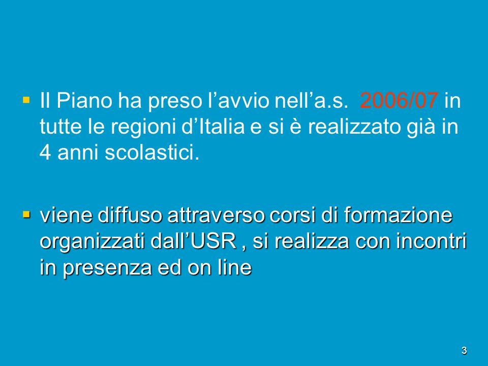 3 Il Piano ha preso lavvio nella.s. 2006/07 in tutte le regioni dItalia e si è realizzato già in 4 anni scolastici. viene diffuso attraverso corsi di