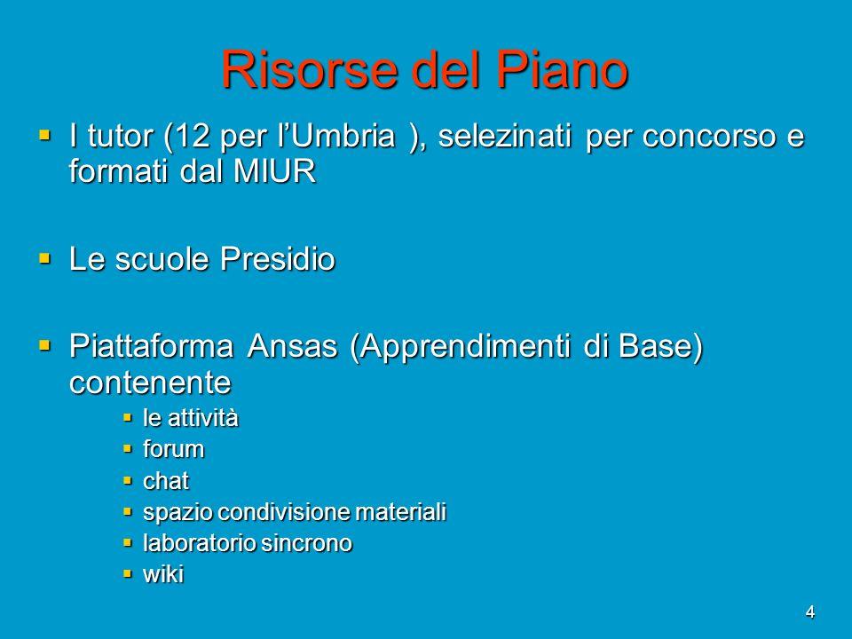 4 Risorse del Piano I tutor (12 per lUmbria ), selezinati per concorso e formati dal MIUR I tutor (12 per lUmbria ), selezinati per concorso e formati