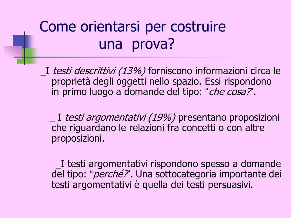 Come orientarsi per costruire una prova? _I testi descrittivi (13%) forniscono informazioni circa le proprietà degli oggetti nello spazio. Essi rispon