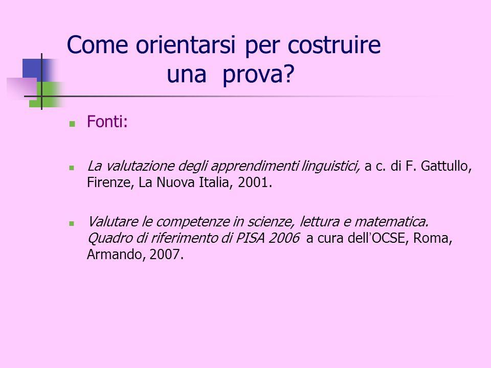 Come orientarsi per costruire una prova? Fonti: La valutazione degli apprendimenti linguistici, a c. di F. Gattullo, Firenze, La Nuova Italia, 2001. V