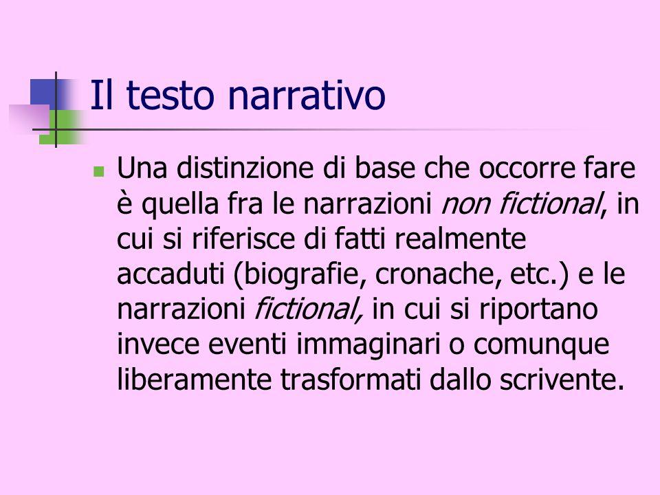Il testo narrativo Una distinzione di base che occorre fare è quella fra le narrazioni non fictional, in cui si riferisce di fatti realmente accaduti