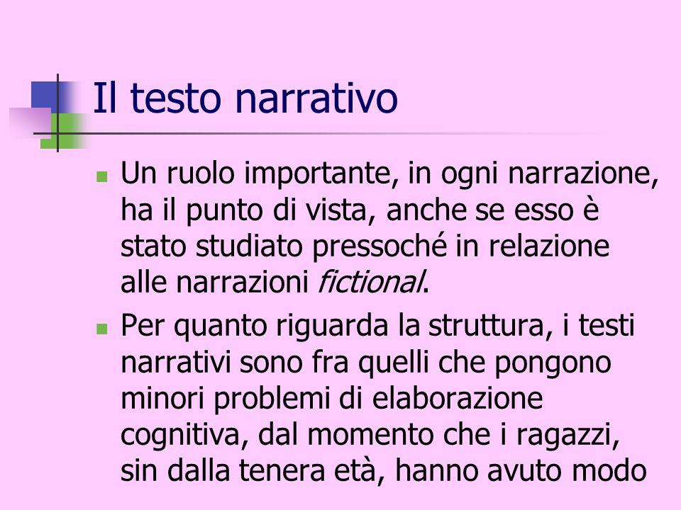Il testo narrativo Un ruolo importante, in ogni narrazione, ha il punto di vista, anche se esso è stato studiato pressoché in relazione alle narrazion