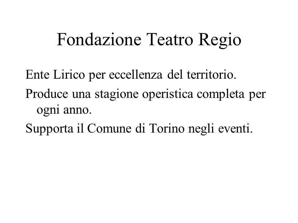 Fondazione Teatro Regio Ente Lirico per eccellenza del territorio. Produce una stagione operistica completa per ogni anno. Supporta il Comune di Torin