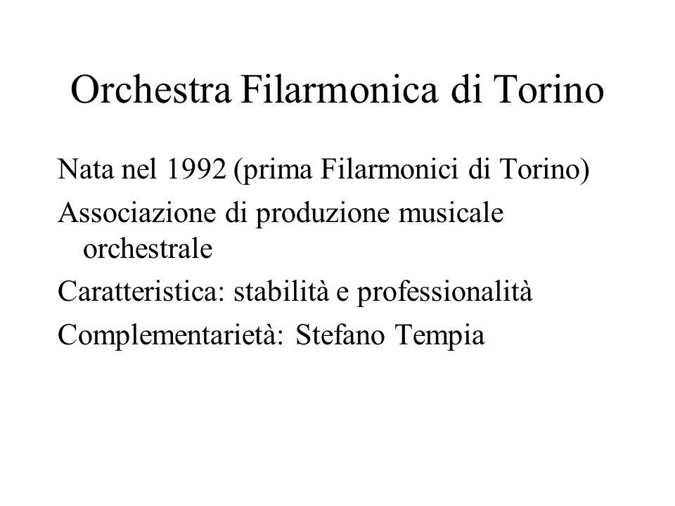 Orchestra Filarmonica di Torino Nata nel 1992 (prima Filarmonici di Torino) Associazione di produzione musicale orchestrale Caratteristica: stabilità e professionalità Complementarietà: Stefano Tempia