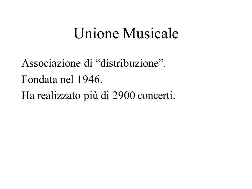Unione Musicale Associazione di distribuzione. Fondata nel 1946. Ha realizzato più di 2900 concerti.