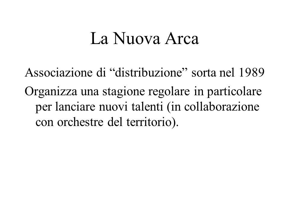 La Nuova Arca Associazione di distribuzione sorta nel 1989 Organizza una stagione regolare in particolare per lanciare nuovi talenti (in collaborazion
