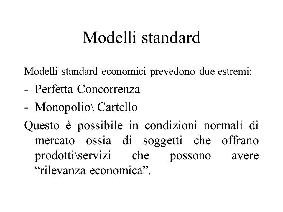 Modelli standard Modelli standard economici prevedono due estremi: -Perfetta Concorrenza -Monopolio\ Cartello Questo è possibile in condizioni normali di mercato ossia di soggetti che offrano prodotti\servizi che possono avere rilevanza economica.