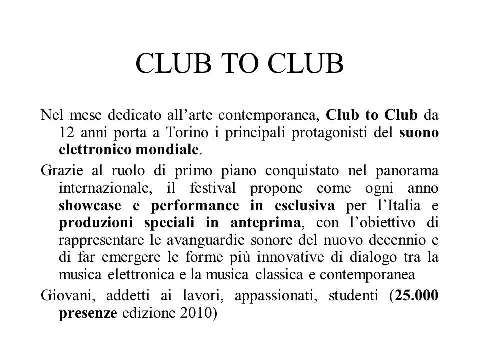 CLUB TO CLUB Nel mese dedicato allarte contemporanea, Club to Club da 12 anni porta a Torino i principali protagonisti del suono elettronico mondiale.