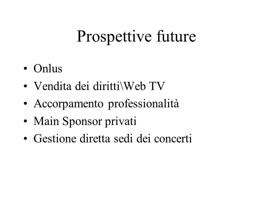Prospettive future Onlus Vendita dei diritti\Web TV Accorpamento professionalità Main Sponsor privati Gestione diretta sedi dei concerti