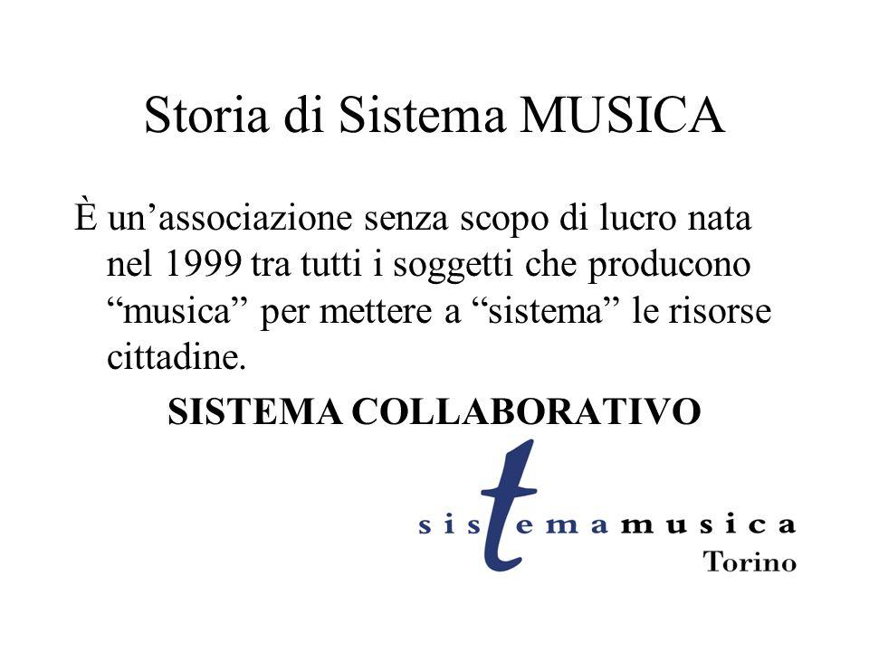 Storia di Sistema MUSICA È unassociazione senza scopo di lucro nata nel 1999 tra tutti i soggetti che producono musica per mettere a sistema le risorse cittadine.