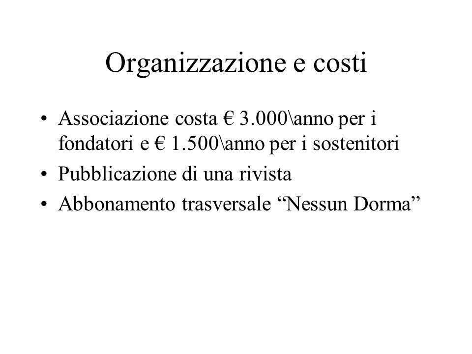 Organizzazione e costi Associazione costa 3.000\anno per i fondatori e 1.500\anno per i sostenitori Pubblicazione di una rivista Abbonamento trasversale Nessun Dorma