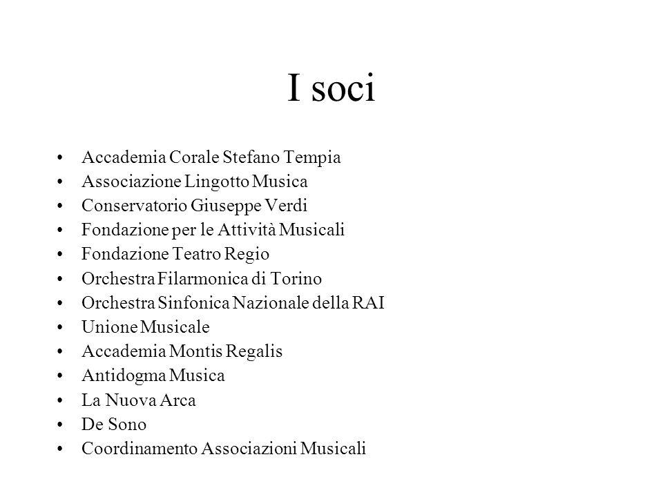 I soci Accademia Corale Stefano Tempia Associazione Lingotto Musica Conservatorio Giuseppe Verdi Fondazione per le Attività Musicali Fondazione Teatro