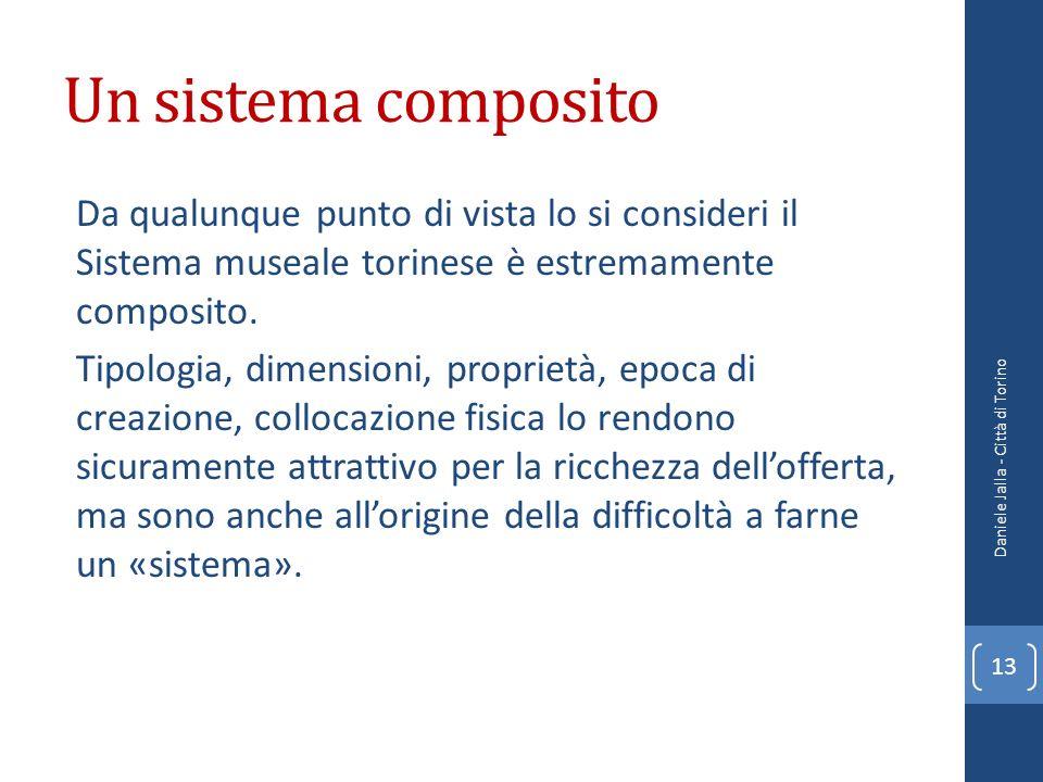 Un sistema composito Da qualunque punto di vista lo si consideri il Sistema museale torinese è estremamente composito. Tipologia, dimensioni, propriet