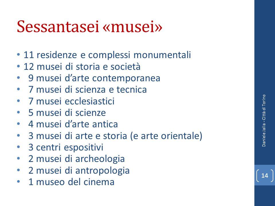 Sessantasei «musei» 11 residenze e complessi monumentali 12 musei di storia e società 9 musei darte contemporanea 7 musei di scienza e tecnica 7 musei