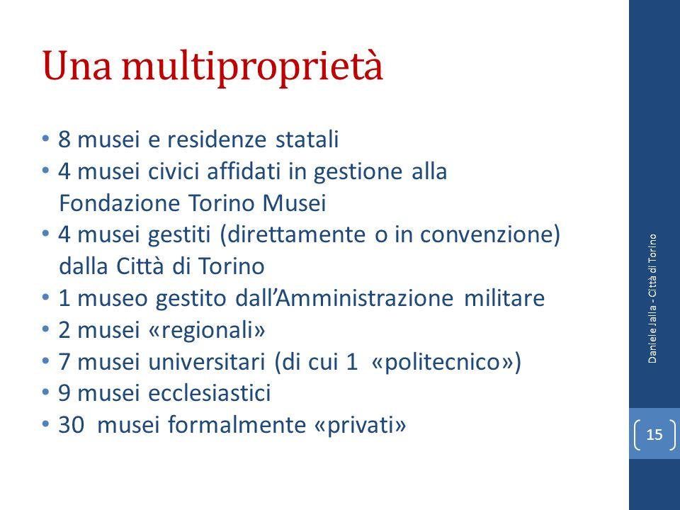 Una multiproprietà 8 musei e residenze statali 4 musei civici affidati in gestione alla Fondazione Torino Musei 4 musei gestiti (direttamente o in con