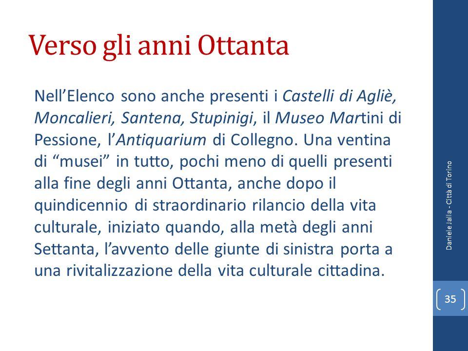 Verso gli anni Ottanta NellElenco sono anche presenti i Castelli di Agliè, Moncalieri, Santena, Stupinigi, il Museo Martini di Pessione, lAntiquarium
