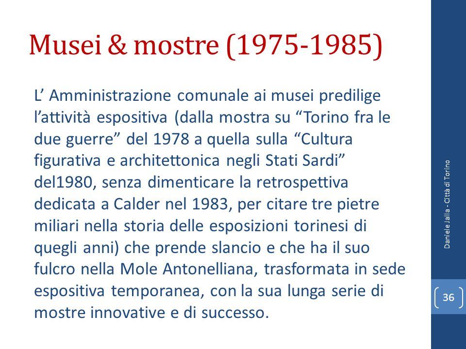 Musei & mostre (1975-1985) L Amministrazione comunale ai musei predilige lattività espositiva (dalla mostra su Torino fra le due guerre del 1978 a que