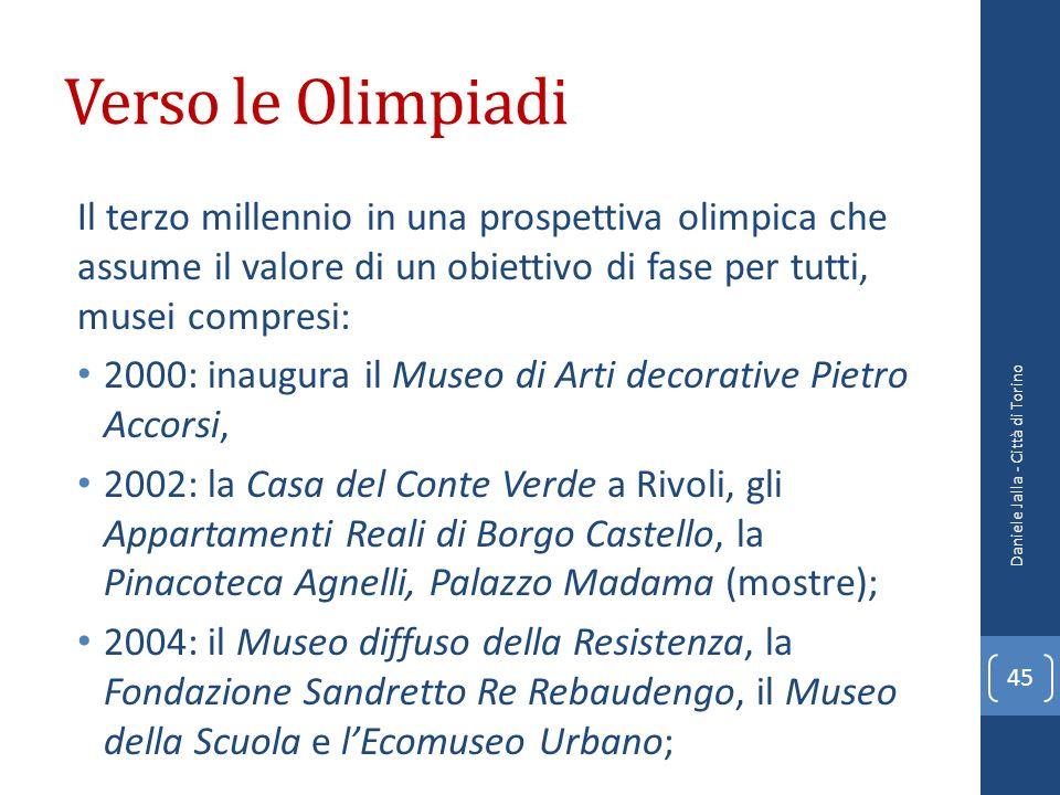 Verso le Olimpiadi Il terzo millennio in una prospettiva olimpica che assume il valore di un obiettivo di fase per tutti, musei compresi: 2000: inaugu