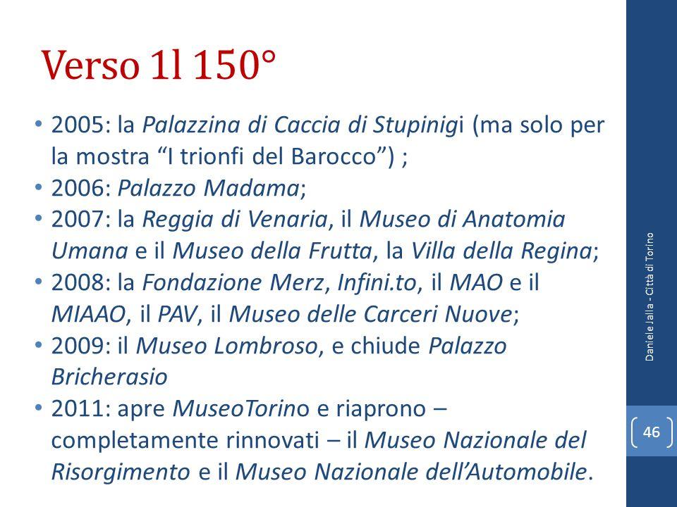 Verso 1l 150° 2005: la Palazzina di Caccia di Stupinigi (ma solo per la mostra I trionfi del Barocco) ; 2006: Palazzo Madama; 2007: la Reggia di Venar