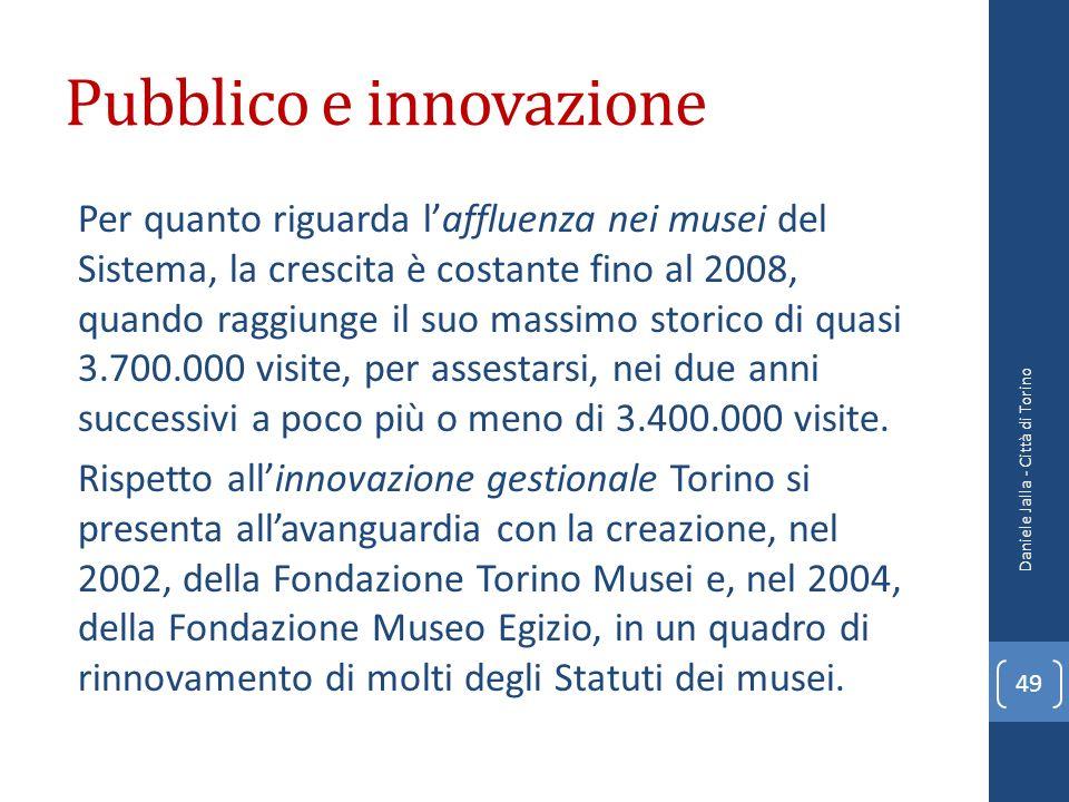 Pubblico e innovazione Per quanto riguarda laffluenza nei musei del Sistema, la crescita è costante fino al 2008, quando raggiunge il suo massimo stor