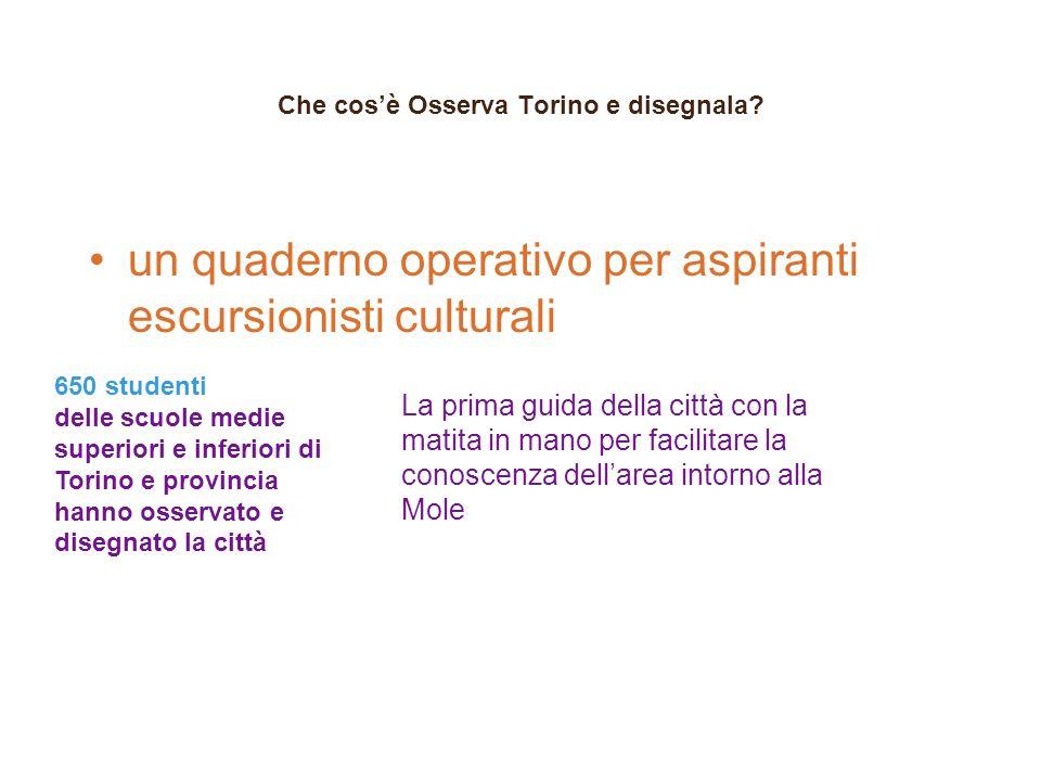 Che cosè Osserva Torino e disegnala? un quaderno operativo per aspiranti escursionisti culturali 650 studenti delle scuole medie superiori e inferiori