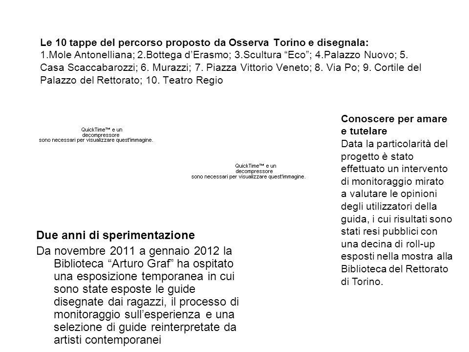 Le 10 tappe del percorso proposto da Osserva Torino e disegnala: 1.Mole Antonelliana; 2.Bottega dErasmo; 3.Scultura Eco; 4.Palazzo Nuovo; 5. Casa Scac